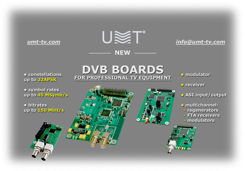 New dvb boards developments from umt llc and roks prjsc